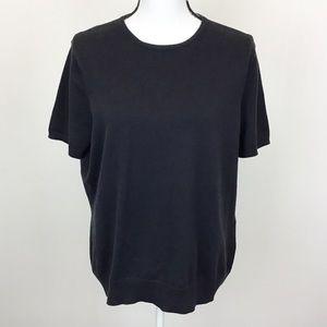 Lands' End Black Short Sleeve Crewneck Sweater
